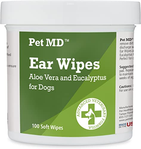 Pet MD - Dog Ear Cleaner Wipes - Otic Cleanser for Dogs to Stop Ear Itching, and Infections with Aloe and Eucalyptus ...