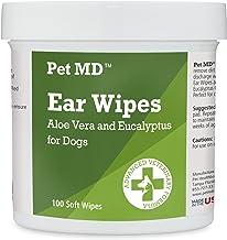Pet MD - دستمال مرطوب کننده سگ گوش - پاک کننده اتیک سگ ها برای جلوگیری از خارش ، مخمر و کنه ها با آلوئه و اکالیپتوس - 100 تعداد