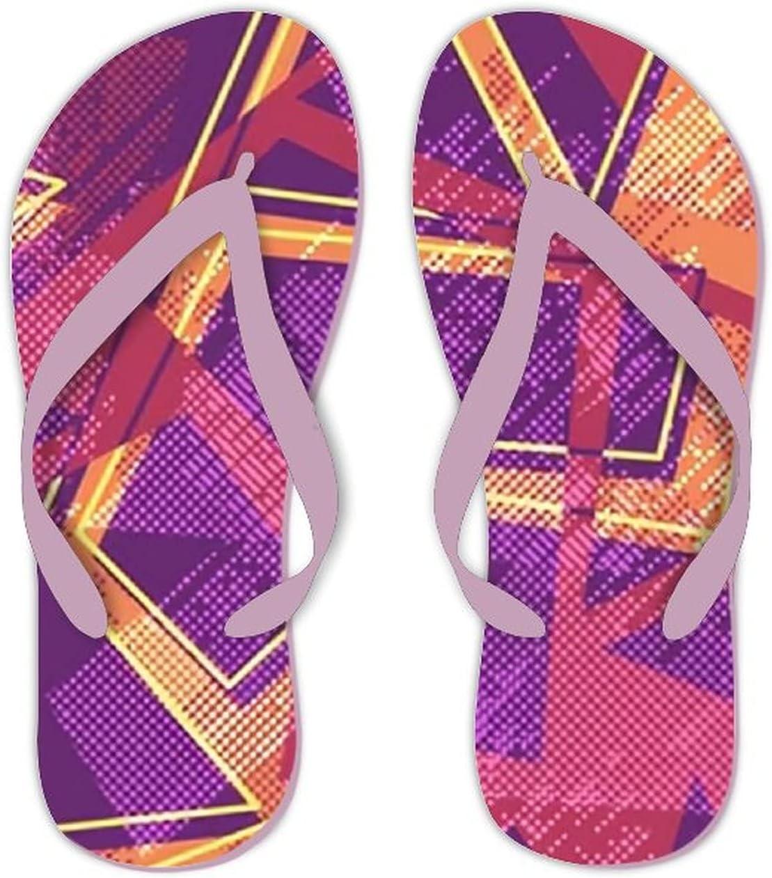 UTF4C Summer Flip Flops for Men Women Geometric Pattern Girls Boys Soft Lightweight Non Slip Sandals for Shower Beach Pool Bathroom Flat 9