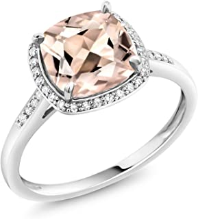 10K White Gold Ring Peach Morganite and Diamond Accent Women Engagement Ring (1.88 Ct Cushion Cut, Available in size 5, 6, 7, 8, 9)