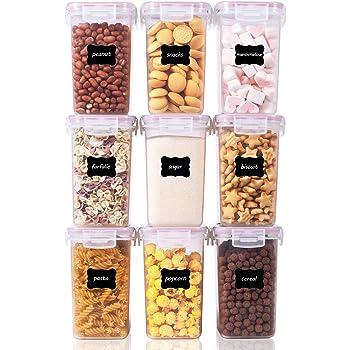 Senza BPA Contenitori Plastica con Coperchio,Set di 9 24 Etichette Rosa Vtopmart 1.6L Contenitori Alimentari per Cereali,Pasta