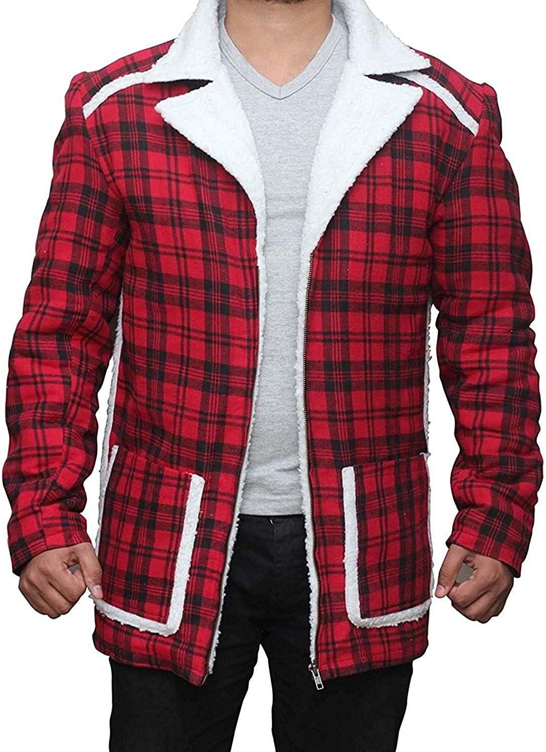 Red Faux Fur Flannel Jacket - Checkered Style Shearling Coat for Men