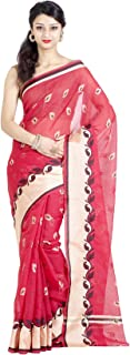 Chandrakala Women's Cotton Blend Indian Ethinc Banarasi Saree with Unstitched Blousepiece(1102)