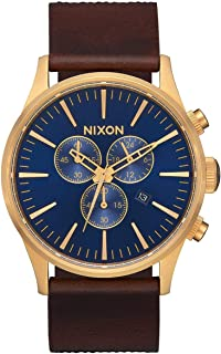 Sentry Chrono Leather A405 - Navy/Brown/Black Gator Leather Analog Watch