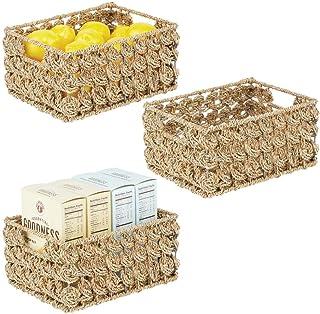 mDesign (lot de 3) rangement placard ou étagère – panier rangement avec étiquette en jacinthe d'eau/métal – boite de range...