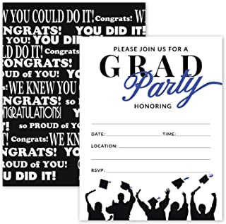 25 Blue & Black Graduation Party Invitations with Envelopes for College, High School, University Grad Celebration or Announcement- Invite Cards Fill In Style- Party Decorations Supplies