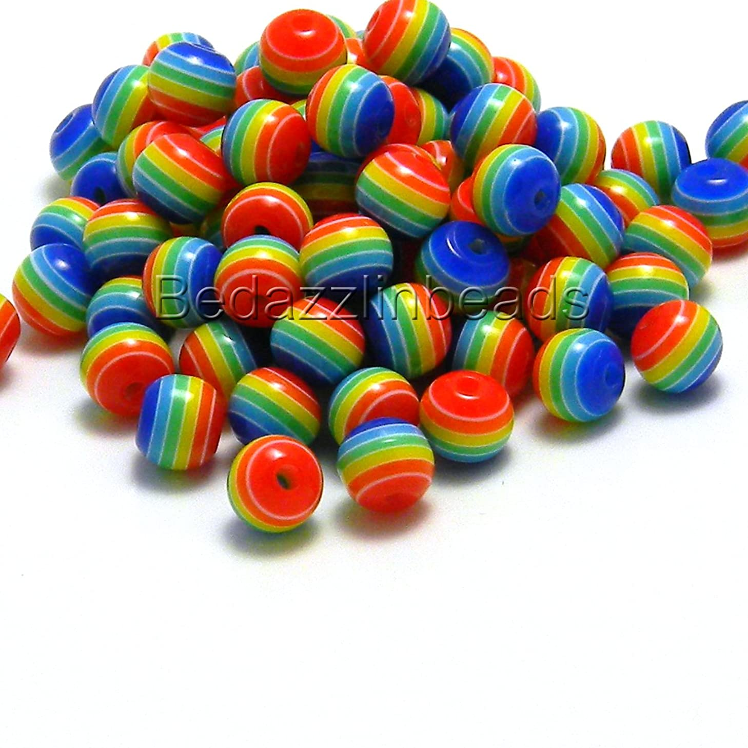 100 Rainbow Stripe 6mm Round Plastic Acrylic Resin Beads With Opaque Striped Lines