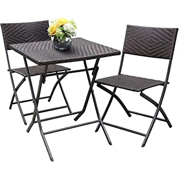 HL Patio Resin Rattan Steel Folding Bistro Set, Parma Style, All Weather Resistant Wicker, 5 PCS/3PCS Set of Foldable Table and Chairs, Espresso Brown, No Assembly Needed
