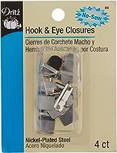 Dritz 86 No-Sew Hook & Eye Closures, Nickel 4-Count
