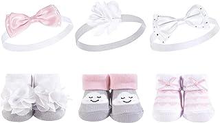 Hudson Baby Baby Girls' Headband and Socks Set, 6 Piece