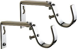 Meriville Set of 2 Satin Nickel Curtain Drapery Rod Bracket for 1-Inch Rod, Adjustable