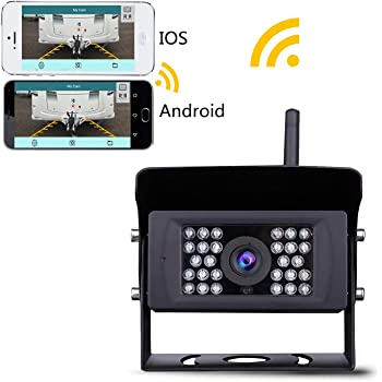 Wireless Backup Camera, Lastbus Night Vision Wide View Angle Waterproof WiFi Rear View Camera for iPhone iPad Android Phone Tablet