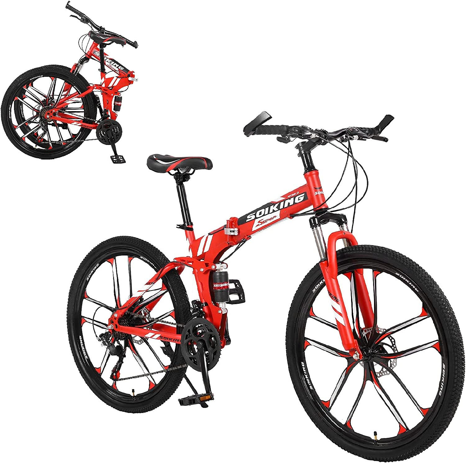 26In Folding Bicycle Mountain Bike - Speed 21 F Brakes Disc Price reduction Max 80% OFF Dual