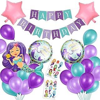 Sirena Decoración de cumpleaños para niña,Morado Feliz cumpleaños Conjunto de Aluminio Globo Látex de pancartas Sirena Papel, Fiesta en Globo Decoración Chica Novia Pequeña Fiesta
