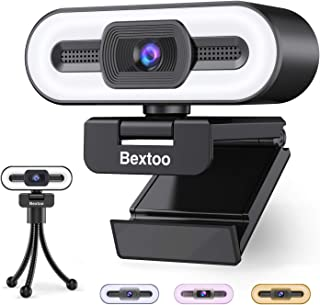2021 Webcam AutoFocus 1080P,HD Web Camera 3 Colors Ring Light & Microphone,30 FPS Streaming Cam with Tripod, Plug and Play...
