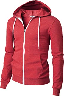 Sponsored Ad - H2H Mens Casual Zip up Hoodie Jacket Double Cotton Lightweight Hooded