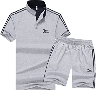 Luckyoung Men's Athletic 2 Piece Short Sleeve T-Shirt Tops and Shorts Set Sportswear