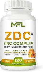 CDZ + Ginger + Lysine + Turmeric |Vitamin C 500mg| Vitamin D3 10,000 IU(250mcg)| Zinc Complex 50 mg| Turmeric 100mg| Lysine 100 mg| Ginger 100 mg| Vegetarian Capsules| 120 Servings