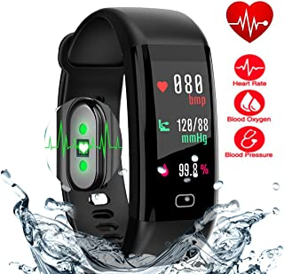 Sports Fitness Activity Tracker with Heart Rate Blood Pressure Oxygen Fit Monitor Bit Bluetooth Wireless Wristband Smart Watch Step Sleep Distance Counter Pedometer for Kids & Adults