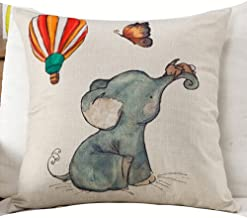 Cotton Linen Square Decorative Throw Pillow Case Cushion Cover Watercolor Elephant Baby Hot Air Balloon Yellow Little Mouse Christmas Gift 18 X18