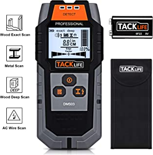 Detector de Pared, Tacklife DMS03 Detector de Metal, Madera y AC Cable, Escáner de Pared Clásico y Multifuncional, Retroiluminación LCD, Indicación de Distancia, Batería Incluida, Lleva una Bolsa