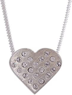 Crystal Beads Cultured Freshwater Pearl .925 Silver Heart Shaped Necklace, Love's Desire'