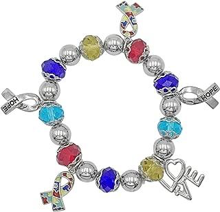 Autism Awareness Multi Color Puzzle Piece Charm Dangle Stretch Bracelet