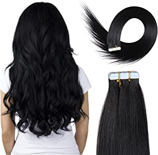 20 inch Skin Weft Tape Hair Extensions 100% Remy(Remi) Straight Human Hair Extension 20pcs 50g/pack (#1) Jet Black …