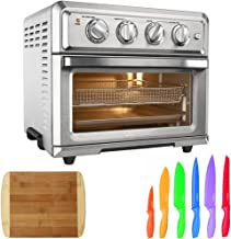 Cuisinart Convection Toaster Oven Air Fryer with Light, Silver (TOA-60) Advantage 12-Piece Knife Set & Home Basics Two Tone Bamboo Cutting Board