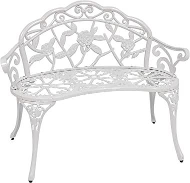 Patio Premier 213052 Outdoor Rose Garden Park Bench, Cast Iron and Aluminum Frame, White