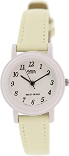 Casio Women's Yelloe/Beige Genuine Leather Analog Watch LQ139L-9B
