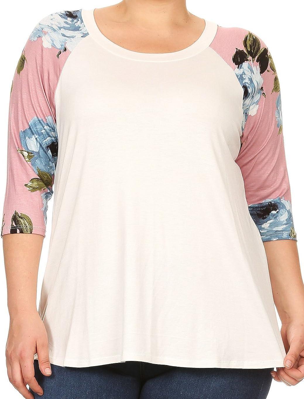 BNY Corner Women Plus Size Solid Raglan Floral Sleeve Knit Top Tee Blouse Shirt