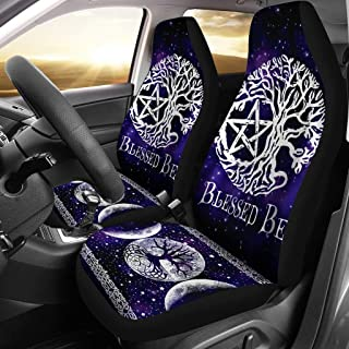 MoonChildWorld Triple Moon Tree of Life Blessed Be Pentagram Pentacle Wicca Pagan Car Seat Covers (2Pcs) Universal Fit
