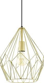 EGLO Lustre Carlton, 1 Suspension à Flamme Vintage, Lampe Suspendue Rétro en Acier, Couleur : Or, Douille : E27