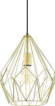 EGLO pendellamp CARLTON, 1 lichtbron Vintage pendelarmatuur, retro hanglamp van staal, kleur: goud, fitting: E27