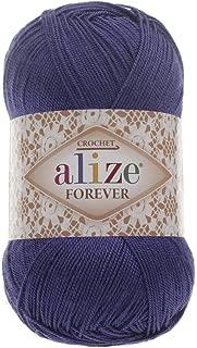 100% Microfiber Acrylic Yarn Alize Forever Thread Crochet Knitting Art Summer Yarn Lot of 4 skn 200 gr 1308 yds Color 141 Royal Blue