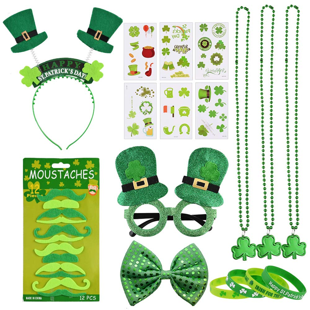 Nabance 63Pcs St Patricks Day Accessories St. Patricks Day Set Photo Booth Props Saint Patrick's Day Party Decorations Irish Day Creative Funny Favors for Kids Women Men