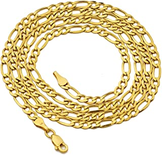 LoveBling 14K Yellow Gold 3mm Figaro Chain Necklace 3+1 Link Pattern