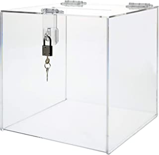 "Marketing Holders Enter To Win Raffle Ballot Box Suggestions Forms Comments Tips Locking Display Box 12""w x 12""h"