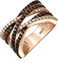 Bling Jewelry Crossover Statement Criss Cross Two Tone Brown Coffee Pave AAA CZ Statement Band Ring for Women Rose Gold Plate Brass