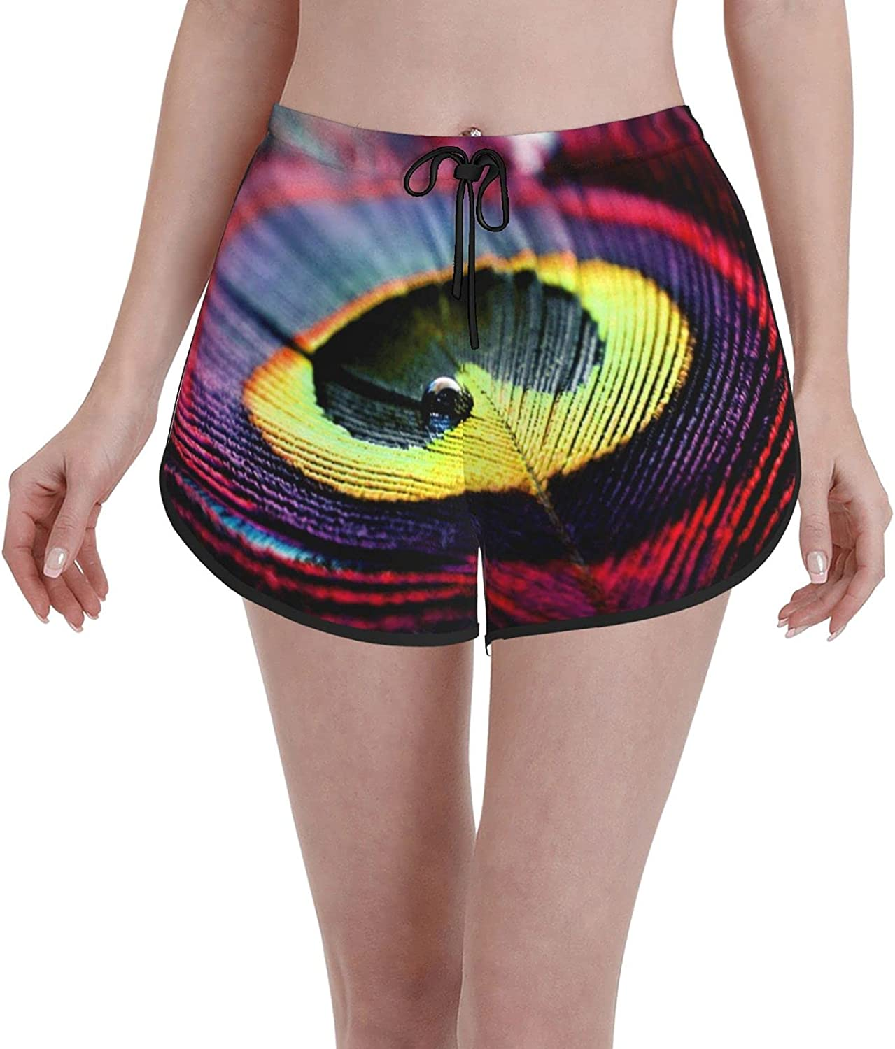 Online limited product Women's Girl's Max 44% OFF Swim Trunks Peacock Red Feather Strip Purple