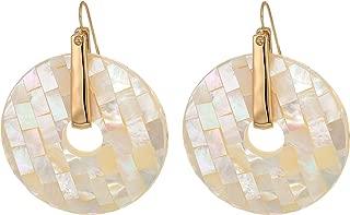Women's Geometric Faceted Shell Ring Drop Earrings