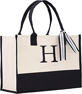 Monogram Tote Bag with 100% Cotton Canvas and a Chic Personalized Monogram Black
