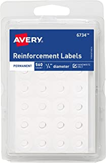 Avery White Self-Adhesive Reinforcement Labels, 1/4 Round, 560 Labels per Pack, Case Pack of 36 (6734)