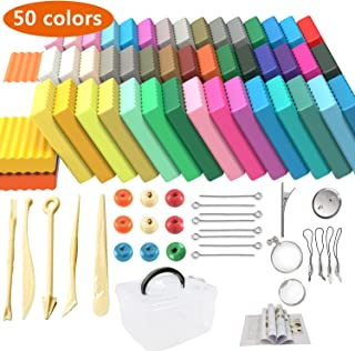 Polymer Clay Starter Kit,50 Blocks Colored Modeling Moulding Clay DIY Soft Craft Clay Set with Sculpting Tools and Accessories in Storage Box, Best Gift for Kids (50 Blocks)