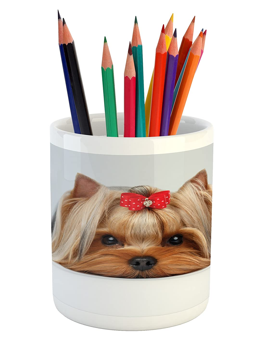 Ambesonne Yorkie Pencil Pen Holder, Lying Yorkshire Terrier with Ribbon Yorkie Love Portrait of a Dog, Printed Ceramic Pencil Pen Holder for Desk Office Accessory, Pale Caramel Sand Brown
