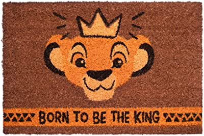 Erik Disney Lion Born to Be The King Door Mat, Coconut Coir, Multicolour, 40 x 60 cm