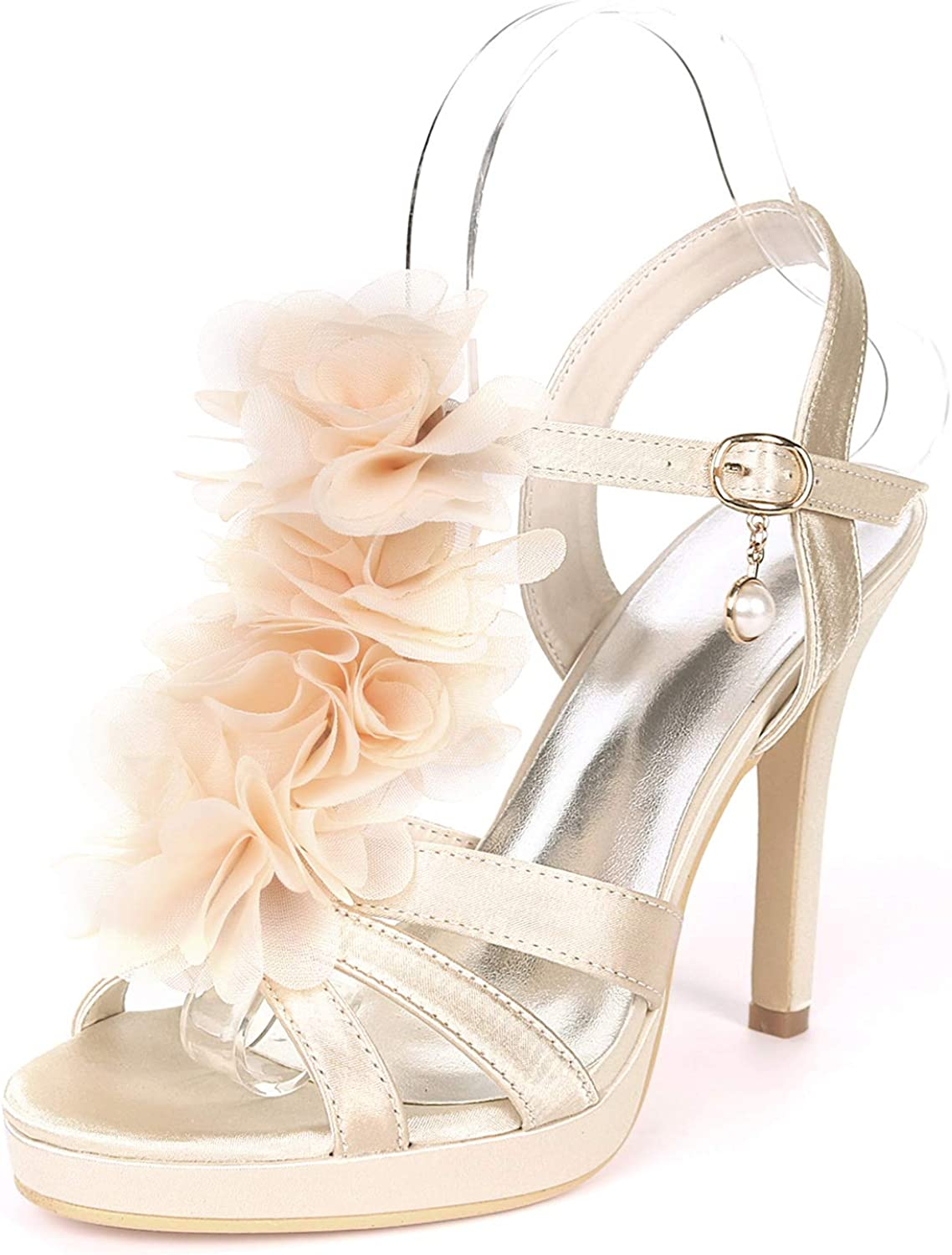 Myloo Women's Open Toe Stilettos High Heel Pumps with Ankle Strap Floral Wedding Dress shoes