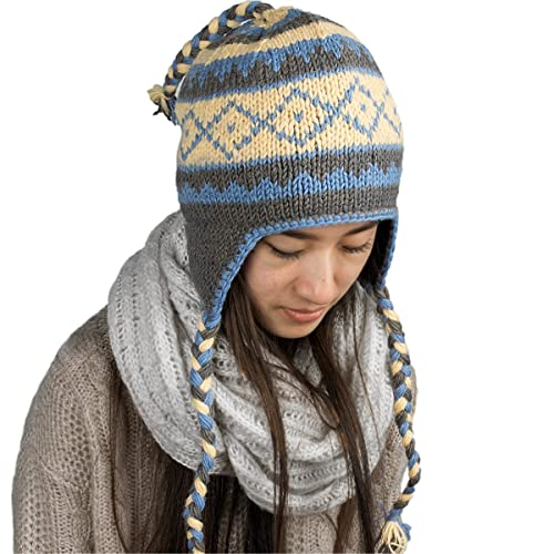 e7233ab72c3 Tribe Azure Fair Trade Warm Winter Soft Wool Hat Fleeced Lined Cap Hand Knit  Women Ear