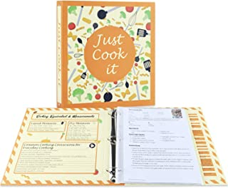Full Page Recipe Binder Kit with 30 Page Protectors, 12 Color Dividers and 24 Labels, 11.5